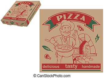 Pizza Chef and Baking Oven Paper Box