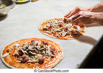 Pizza chef at work