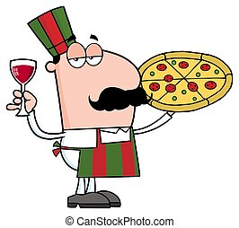 Pizza Chef Cartoon Character Holding A Glass With Wine. ...