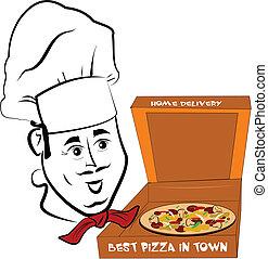 pizza, chef cuistot