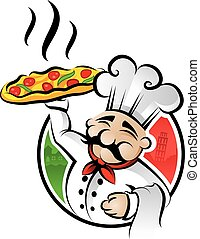 Pizza Chef - Illustration of an italian cartoon chef with a...