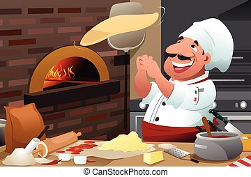 Pizza Chef Makes Pizza Dough - A vector illustration of...