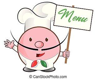 pizza chef mascot with menu signboard