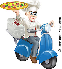Pizza chef moped delivery - A smartly dressed pizza chef in...