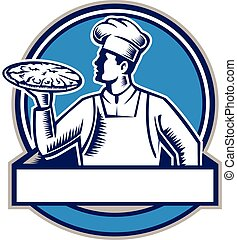 Pizza Chef Serving Pizza Circle Woodcut