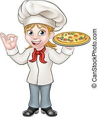 Pizza Chef Woman Cartoon Character