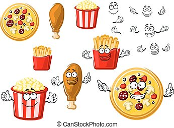Pizza, chicken leg, french fries and popcorn