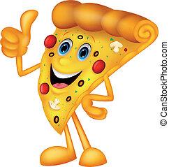 pizza, cima, feliz, polegar, caricatura