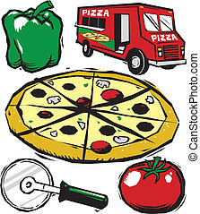 Pizza Clip Art - Woodcut style clip art with a pizza theme