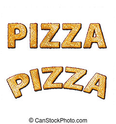 Pizza letters made of pizza topping texture