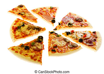 pizza close up on white background
