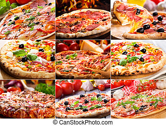pizza collage - collage of various pizza