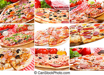 pizza, collage