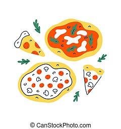 pizza, collection, jeûne, dessiné, illustration, service, coloré, isolé, divers, nourriture, vecteur, pizzeria, illustration, griffonnage, livraison, tranches, dessin, main, pepperoni, margherita
