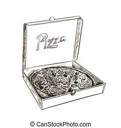 pizza, com, cogumelos, tomate, e, azeitonas, em, um, box., vetorial, esboço, ligado, um, branca