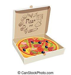 pizza, com, cogumelos, tomate, e, azeitonas, em, um, caixa