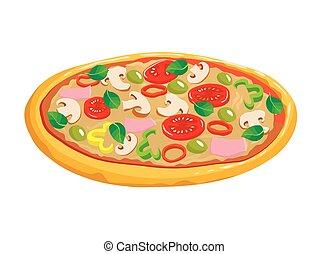 pizza, com, cogumelos, tomate, e, azeitonas, ligado, um, fundo branco