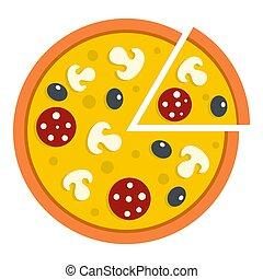 pizza, con, funghi, salame, e, ogive, icona