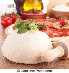 pizza, con, ingrediente