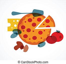 pizza, con, su, ingredientes