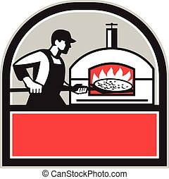 Pizza Cook Peel Wood Fired Oven Crest Retro