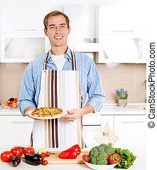 pizza., cozinhar, homem jovem, home., cozinha