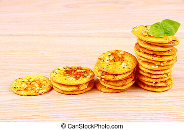 Pizza cracker with basil als business concept - Pizza...
