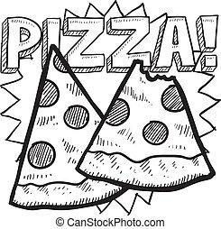 pizza, croquis, couper
