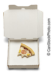 Half Eaten Piece of Pizza in Take Home Box Isolated on White Background.