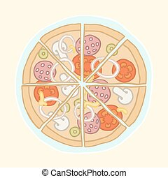 Pizza cut into slices. Vector EPS 10 hand drawn...