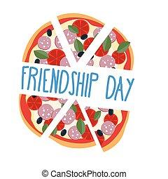 pizza, day., stücke, friends., internationale freundschaft, vektor, illustration.