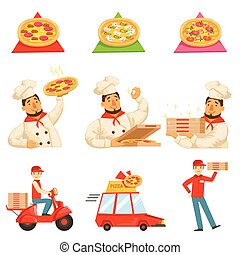 Pizza Delievery Fast Service Process Info Illustration