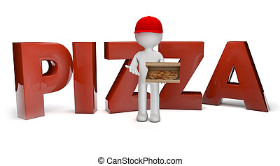 pizza deliver - render of a pizza guy and the text pizza