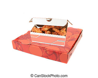 pizza delivery box and chicken wings