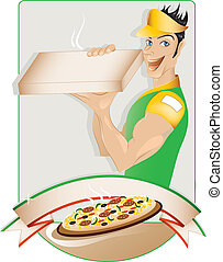 Pizza delivery boy with copy space