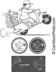 pizza delivery cartoon - cartoon pizza delivery man riding...