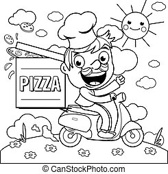 Pizza delivery chef in scooter. Coloring page