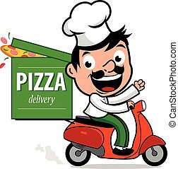 Pizza delivery chef in scooter - Illustration of a cartoon...