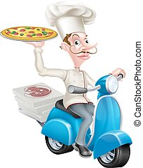 Pizza Delivery Chef on Moped