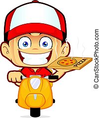 Pizza delivery man courier riding scooter