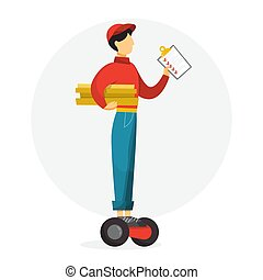 Pizza delivery man holding pizza box. Male character