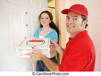 Pizza Delivery Man with Customer