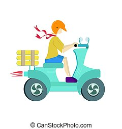 Pizza delivery on a scooter. Man driving a moped. Vector illustration on white background.