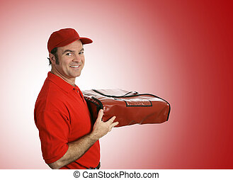 Pizza Delivery over Red - A pizza delivery man bringing your...