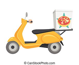 Pizza delivery scooter vector cartoon illustration