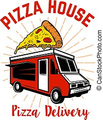 Pizza delivery track. Design element for logo, label, emblem, sign.
