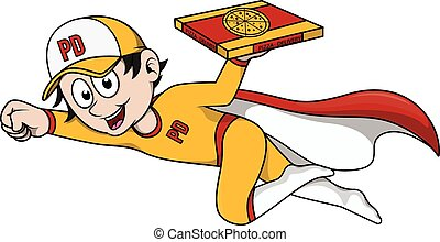 Pizza delivery using super hero cos
