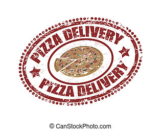 pizza delivery - Grunge rubber stamp with pizza inside and...