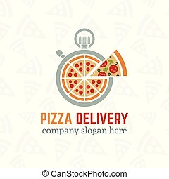 Pizza delivery vector company logo template