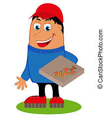 Pizza delivery with the box pizza